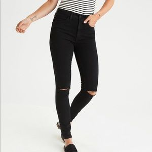 Super high rise Jeggings black ripped AEO 6 short